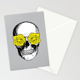 Skull and Roses | Grey and Yellow Stationery Cards
