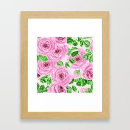 Pink watercolor roses with leaves and buds pattern Framed Art Print