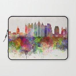 Atlanta V2 skyline in watercolor background Laptop Sleeve