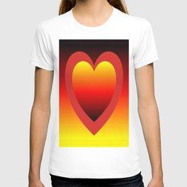 Golden red gradient hearts  T-shirt