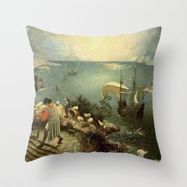 Landscape with the Fall of Icarus - Pieter Bruegel Throw Pillow