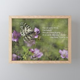 Gray Butterfly on Pink Framed Mini Art Print