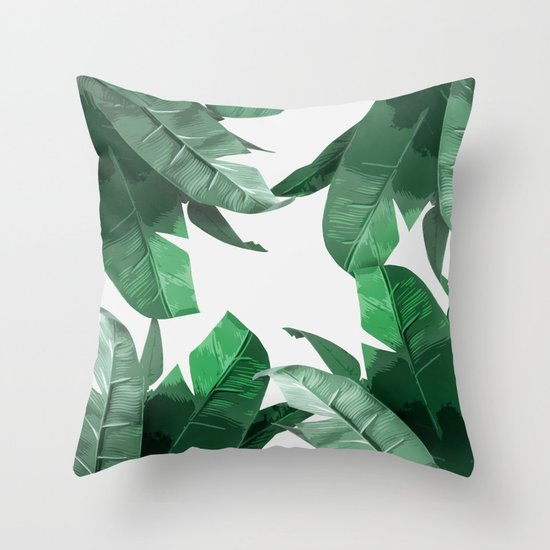 Tropical Palm Print Throw Pillow