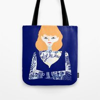 tatoo Tote Bags featuring Rehead with tatoo 01 by JulienB