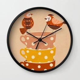 Birds and Teacups Wall Clock