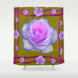PINK-BLUE TINGED ROSES ON KHAKI COLOR Shower Curtain