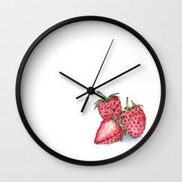 Watercolour Strawberries Wall Clock