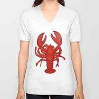 lobster V-neck T-shirts featuring Lobster by Fischer Fine Arts