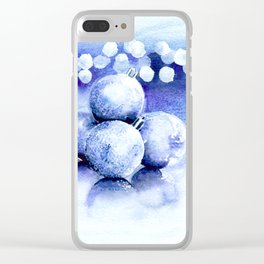 Blue sparkling ornaments Clear iPhone Case