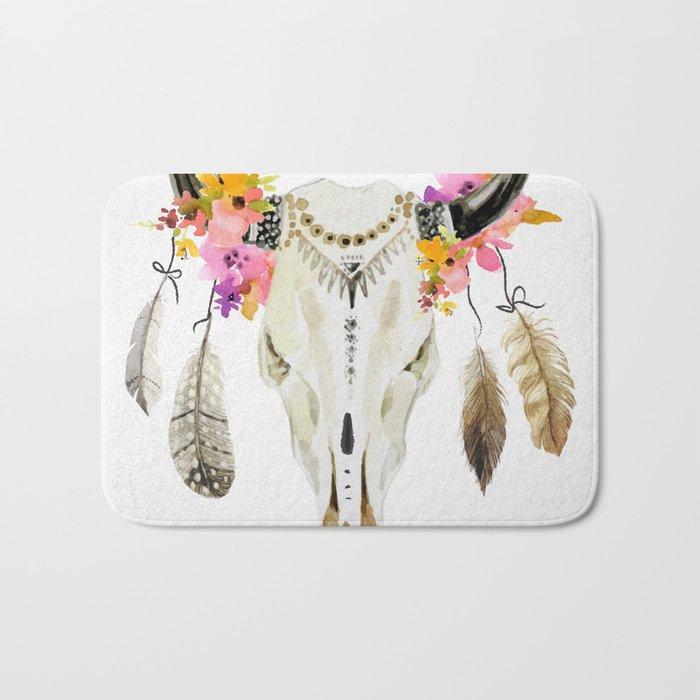 free spirit- tribal skull Bath Mat