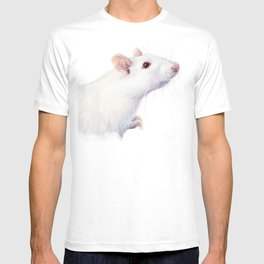 White Rat Watercolor Albino Rat Animal T-shirt