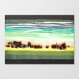 Railroad Town In The West Plains Of Nebraska 32 Canvas Print