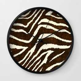 ANIMAL PRINT ZEBRA IN WINTER 2 BROWN AND BEIGE Wall Clock