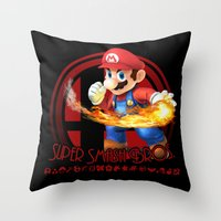 super smash bros Throw Pillows featuring Mario - Super Smash Bros. by Donkey Inferno