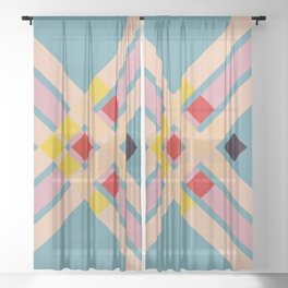 Mullo - Colorful Decorative Abstract Art Pattern Sheer Curtain
