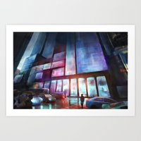 cityscape Art Prints featuring Cityscape by Laurens Spruit