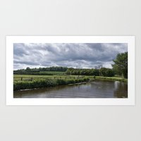 Canal on a cloudy day Art Print