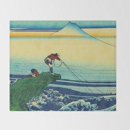 Vintage Japanese Art - Man Fishing Throw Blanket