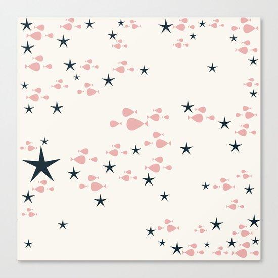 fish and stars pink Canvas Print