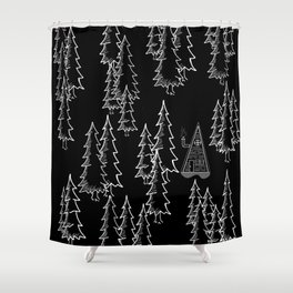Lost in the wood, a lonely cabin (revers) Shower Curtain
