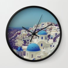 Blue Domes II, Oia, Santorini, Greece Wall Clock