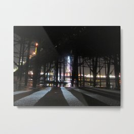 Blackpool Lights Reflection In Water At Night  Metal Print