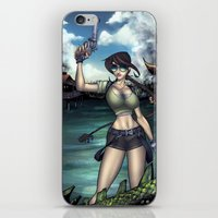 lara croft iPhone & iPod Skins featuring Hello Ms. Croft by Quetzal Revolver