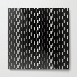Minimal neutral offset strokes, abstract on black Metal Print