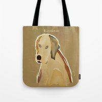 golden retriever Tote Bags featuring golden retriever dog modern by bri.buckley