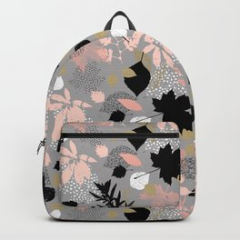 Abstract maple leaves autumn in pink and gray colors Backpack