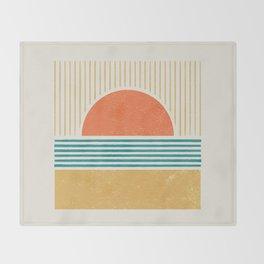 Sun Beach Stripes - Mid Century Modern Abstract Throw Blanket