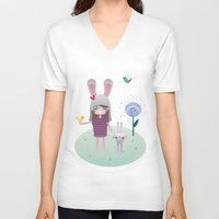 friendship V-neck T-shirts featuring Friendship by Esther Ilustra