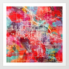 Bozeman map Montana MT 2 Art Print
