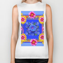 BUTTERFLIES FUCHSIA DAHLIA SUNFLOWER MORNING GLORY BLUE  FLORAL Biker Tank