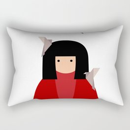 Japanese girl with origami birds. Oriental style Rectangular Pillow