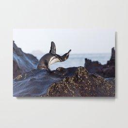 Penguin Yoga Metal Print