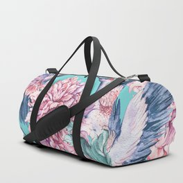 Teal peonies and birds Duffle Bag