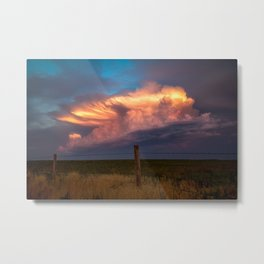 Dreamy - Storm Cloud Bathed in Sunlight at Dusk in Western Oklahoma Metal Print