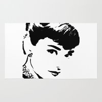 audrey hepburn Area & Throw Rugs featuring Audrey Hepburn by Saundra Myles