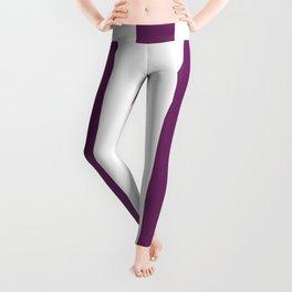 Byzantium violet - solid color - white vertical lines pattern Leggings