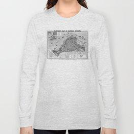 Vintage Map of Martha's Vineyard (1913) BW Long Sleeve T-shirt