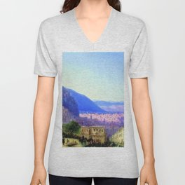 View of Tiflis by by Ivan Aivazovsky Landscape Painting Unisex V-Neck
