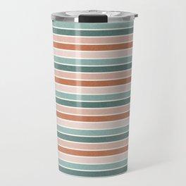 stripes - terra cotta and teal Travel Mug