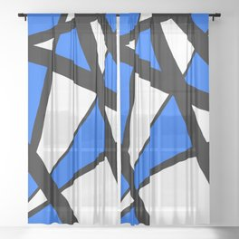 China Blue Geometric Triangle Abstract Sheer Curtain