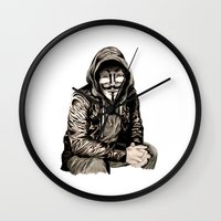 gangster Wall Clocks featuring Anonymous Gangster by 13 Styx