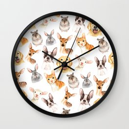 Watercolor brown black golden hand painted animals Wall Clock