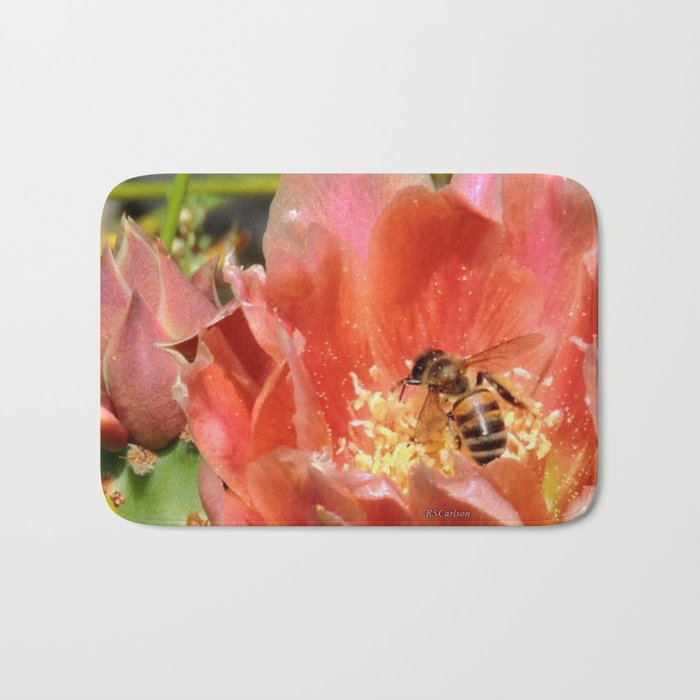 Prickly Pear Cactus Blossom with Visitor Bath Mat