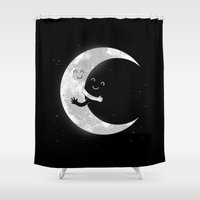 hug Shower Curtains featuring Moon Hug by carbine
