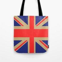 union jack Tote Bags featuring Union Jack by MeMRB