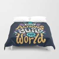 risa rodil Duvet Covers featuring Build Our World by Risa Rodil